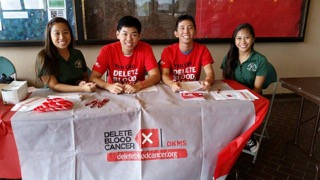 students pose at Bone Marrow Donor Registration Drive