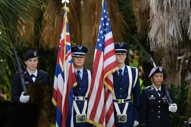 University of Hawaii at Manoa Color Guard with flags