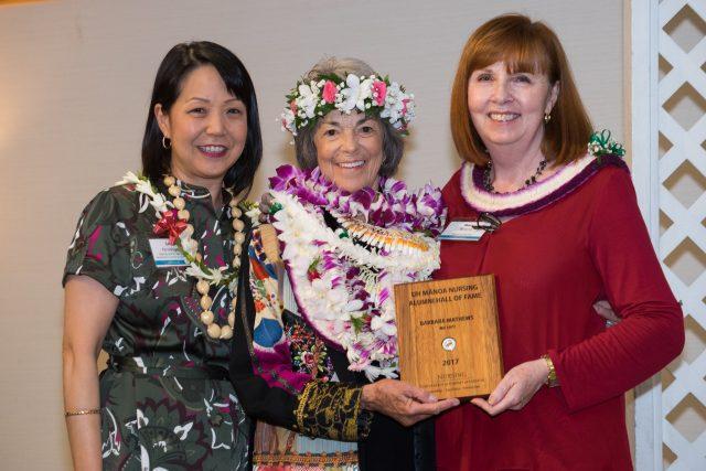 Award ceremony for Barbara Matthews with Mary Boland and Lori Kaneshige