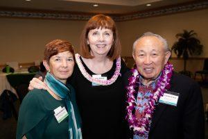 Stephanie Marshall, Mary Boland and Dr Lawrence Tseu at an event