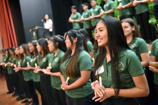student pledging ceremony
