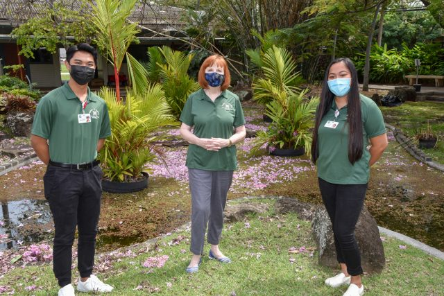 Mary and students wearing masks