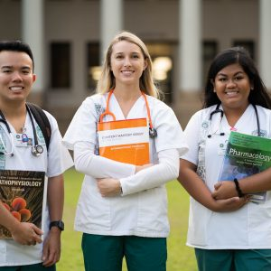 Nursing Students Standing Outside Of Hawaii Hall At UH Manoa