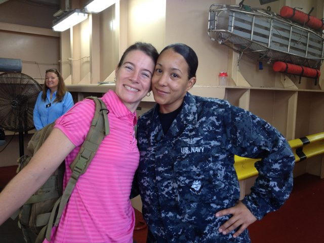 Professor Carrie Davis & teammate HM2 Amirah Roman smile for photo