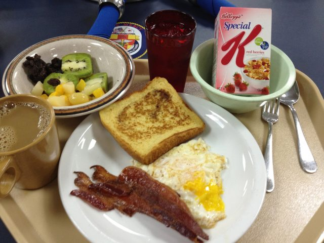 eggs made to order, French toast and side of bacon, cereal and fruits!
