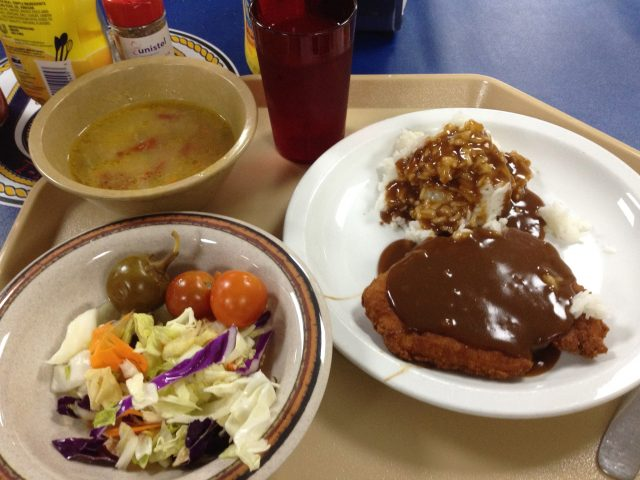 Chicken patty, soup and salad. Don't spare the gravy!