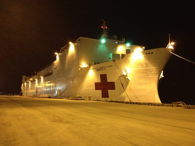 evening photo of USNS Mercy ship