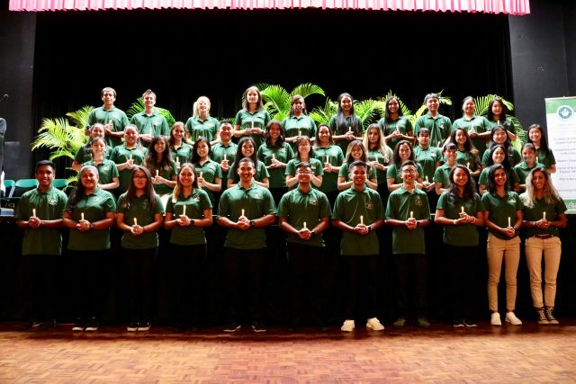 class of 2021 at pledging ceremony