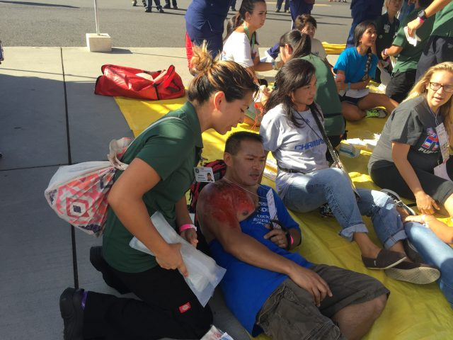 nursing students participate in State of Hawaii, Department of Transportation's Triennial Aircraft Disaster Exercise