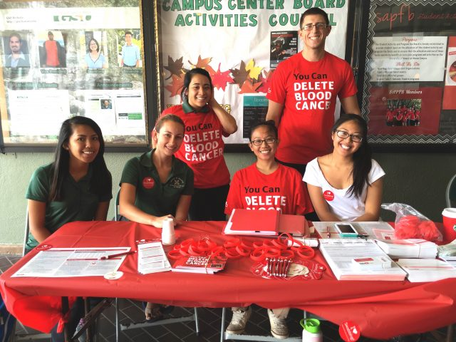 students pose at Delete Blood Cancer Drive