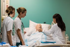 Nursing students in the simulation lab