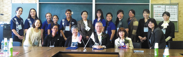 group photo of exchange program with Nagasaki University
