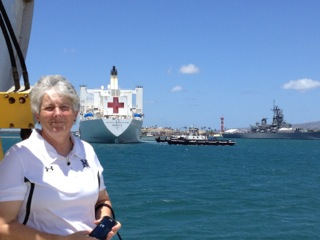 photo of Teresa Parsons as she meets the USN MERCY