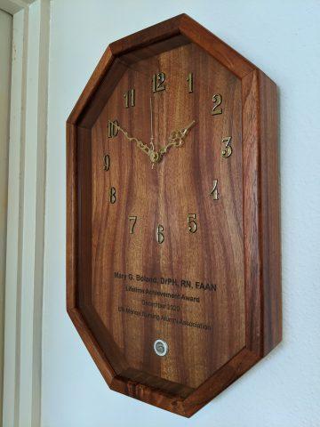 Mary Boland's clock award from alumni chapter