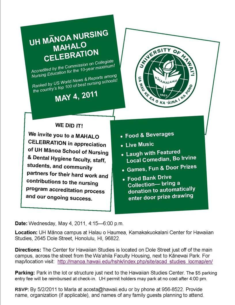 UH nursing mahalo celebration flyer