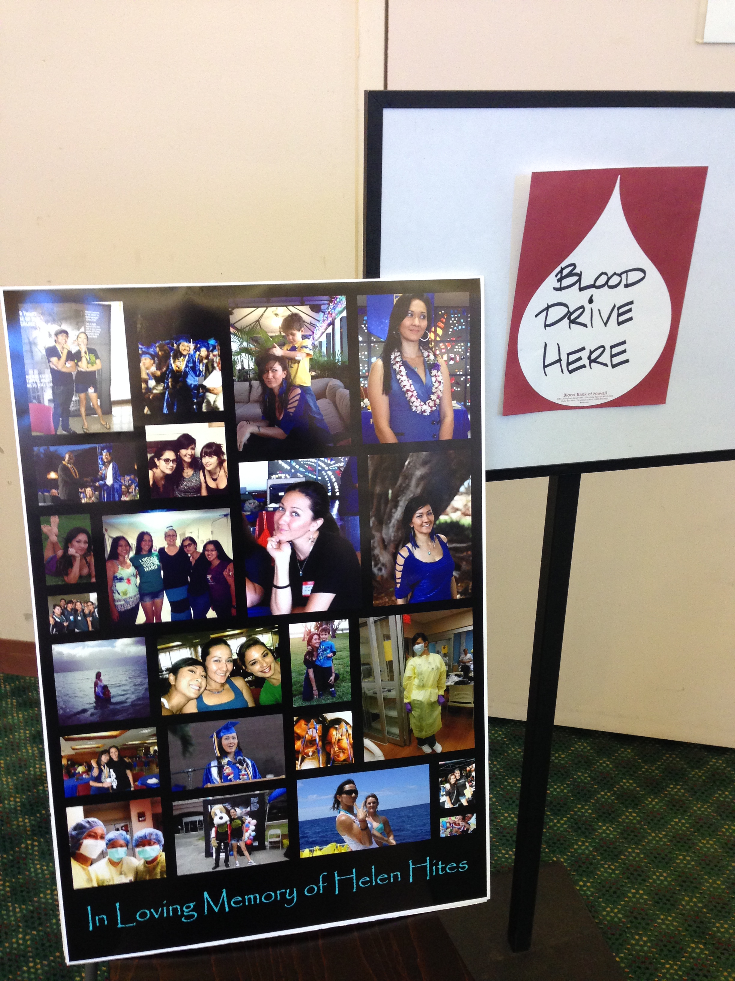 blood drive poster in memory of Helen Hites