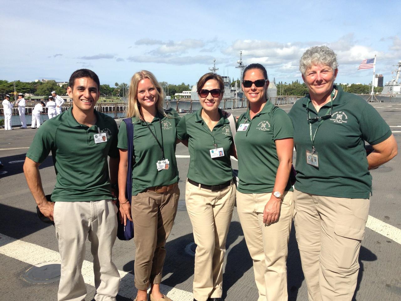 UHM Nursing Pacific Partnership 2013 Team on board the USS Pearl Harbor